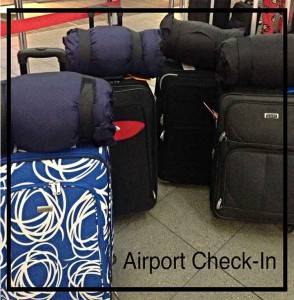 At The airport check in. The luggage gets checked in and the Go Pillows come on board with us