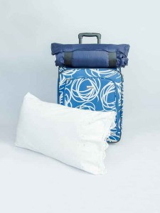 A standard pillow easily rolls into a Go Pillow case