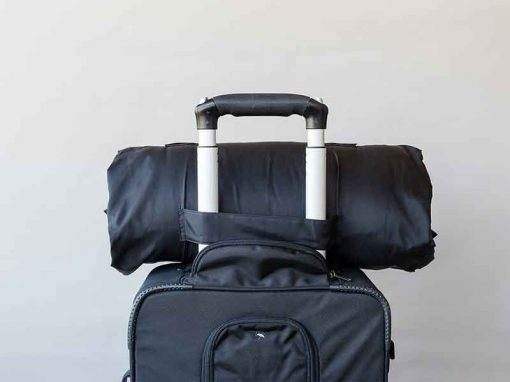 Rear view of SleepKeeper on hand luggage suitcase
