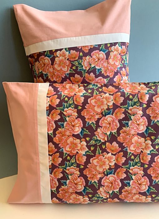 Floral pink pillow case