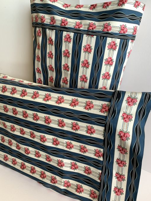 Roses and navy stripe pillowcase