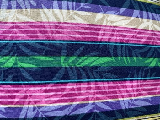 Striped colour pillowcase close up to see print.